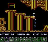 une photo d'écran de Lemmings sur Nintendo Nes