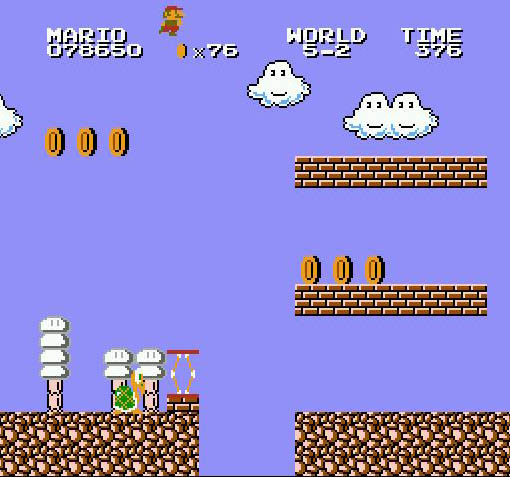 une photo d'écran de Super Mario Bros sur Nintendo Nes