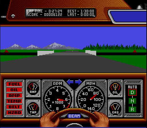 une photo d'écran de Race Drivin sur Nintendo Super Nes