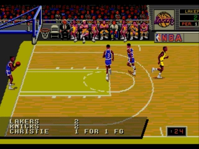 une photo d'écran de NBA Showdown sur Sega Megadrive