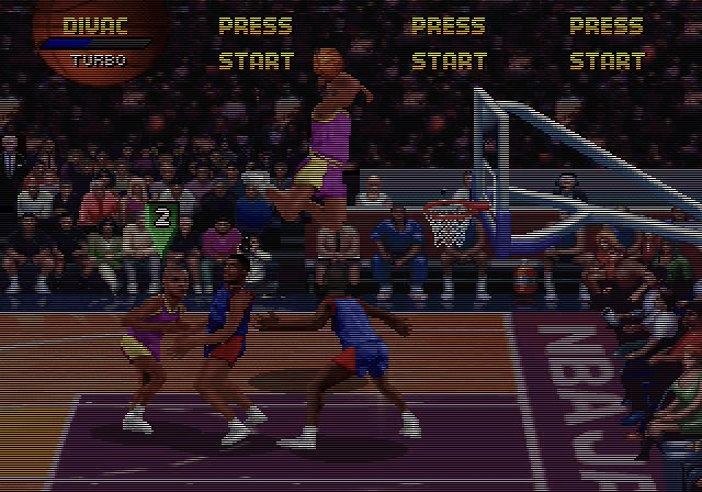 une photo d'écran de NBA Jam Tournament Edition sur Sega Saturn