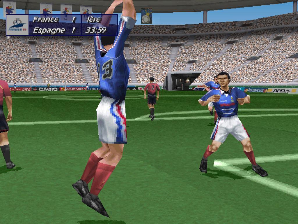 Test de coupe du monde 98 sur sony playstation - Jeu de foot coupe du monde ...