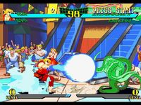 une photo d'écran de Marvel Super Heroes VS Street Fighter sur Sony Playstation