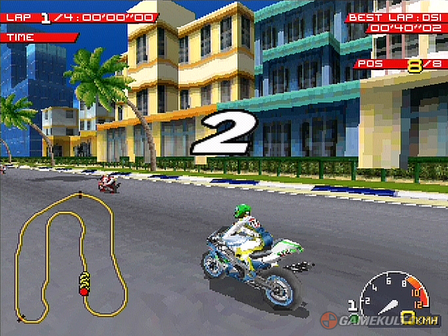 une photo d'écran de Moto Racer sur Sony Playstation